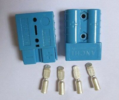 1pair Blue Battery Quick Connector Kit 50A 6AWG Plug Connect Disconnect Winch