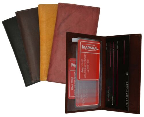 Fine Genuine Leather Plain Checkbook Cover Thin Long Wallet Credit Card Holder