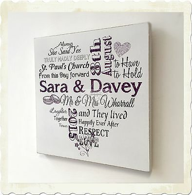 Wedding Plaque Personalised Wooden Typography Sign Anniversary Gift W26