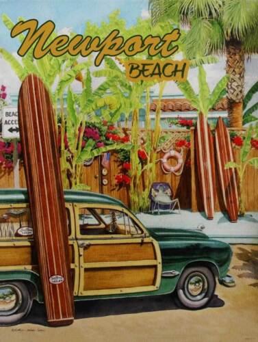 Newport Beach Retro Woody Metal Sign