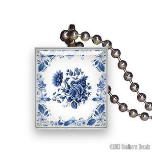 Blue delft rose china pattern scrabble tile pendant necklace image is loading blue delft rose china pattern scrabble tile pendant aloadofball Choice Image