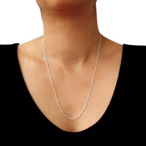 Sterling 925 Silver Figaro Chain Necklace 55cm