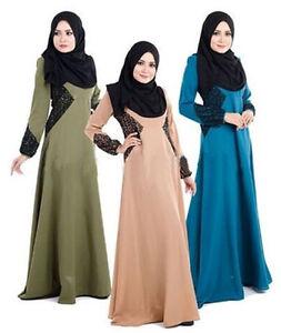 Women Maxi Islamic Muslim Dresses Abaya Long Sleeve Party Maxi Waist Lace Kaftan