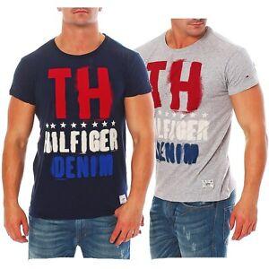 Tommy-HILFIGER-DENIM-NEW-JERSEY-1-T-SHIRT-SHIRT-CN-Tee-S-S-GRIGIO-BLU