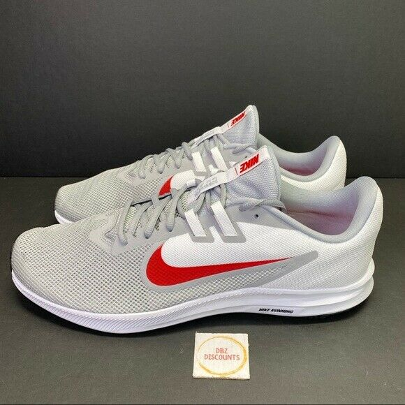 Nike Downshifter 9 Mens Shoes Running Grey/white/red Sneaker