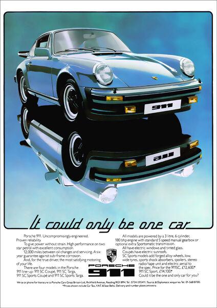 PORSCHE 911 RETRO A3 POSTER PRINT FROM CLASSIC 70'S ADVERT