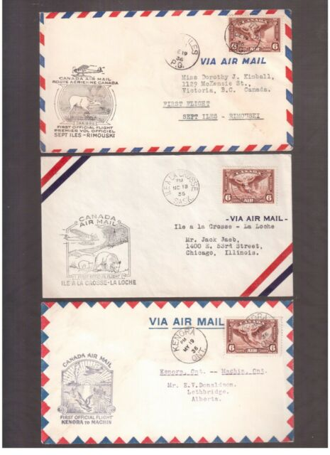 CANADA 1936 LOT OF 9 FIRST FLIGHT COVERS !!   5