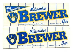TWO-1982-MILWAUKEE-BREWERS-CANDY-BAR-WRAPPERS