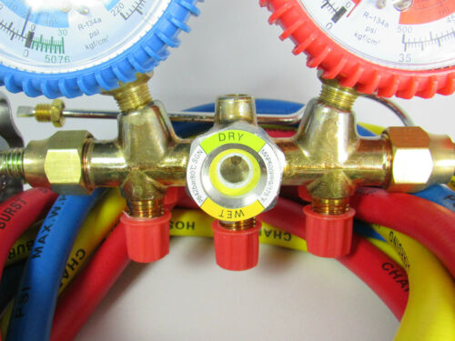 60 INCHES MANIFOLD WITH SIGHT GLASS FOR R134a R22 /& HOSES LENGTH