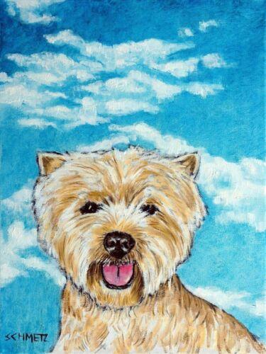 WEST highland white terrier DOG ART PRINT poster gift modern folk 13x19 sky