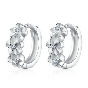 CZ-Flower-Hoop-Ear-Stud-Earrings-Women-039-s-Silver-Plated-Jewelry-Gift