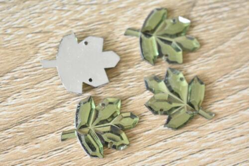Leaf1 Green 30pcs 18x23mm Flatback Acrylic Jewel Rhinestone Bead