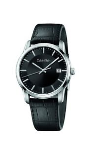 Calvin-Klein-Infinite-Silver-Black-Leather-Quartz-Women-039-s-Watch-K5S311C1