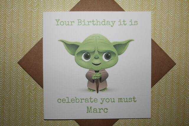 Handmade Personalised Star Wars Yoda Birthday Card Father Son Brother Uncle