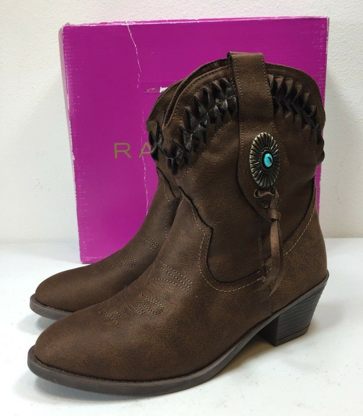 Rampage Ram Sidnie Women's Brown Fabric Pull On Boots Shoe Size 8 M