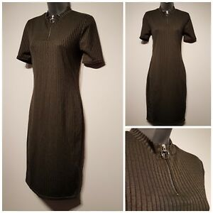 Size-12-Dress-Khaki-Green-Ribbed-Funnel-Neck-Excellent-Condition-Women-039-s-Bodycon