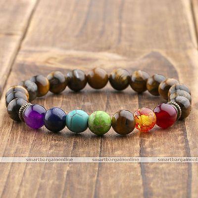 Men Women Natural 7 Gemstone Chakra Lava Rock Stone Prayer Bead Bangle Bracelet