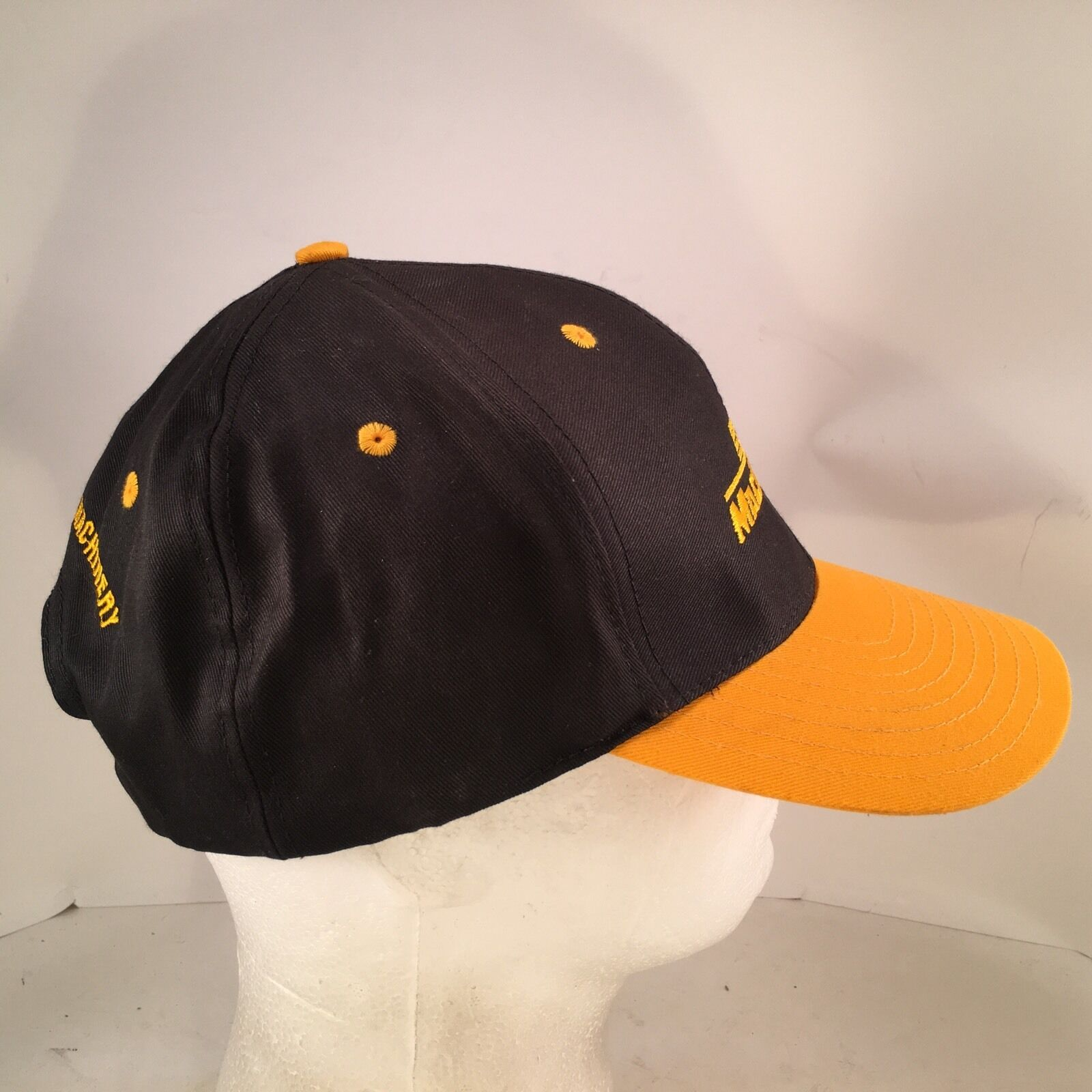 MacAllister Double Machinery CAT Black Gold Embroidered Double MacAllister Row Snapback Hat Cap 8e6056