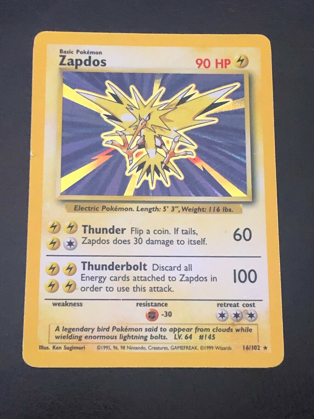 Pokemon 16 102, Zapdos, Base Set, Holo, Rare, HP