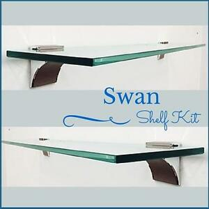 swan floating glass shelf kit 3 8 tempered glass shelf with 2 rh ebay com floating glass shelves lowes floating glass shelves nz