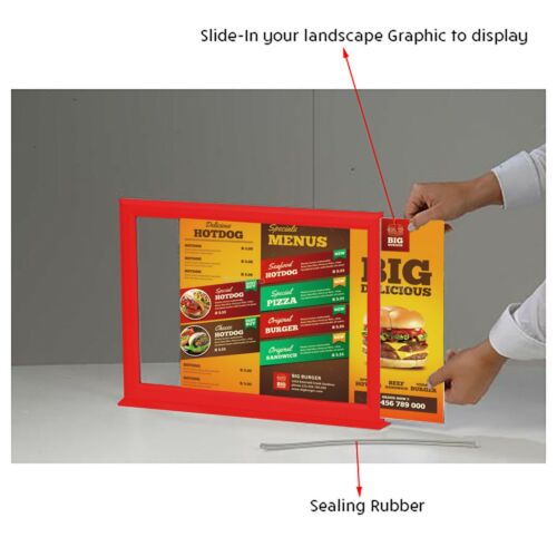 T shape Counter Slide-in double Sided Poster Holder Table Menu Leaflet Display