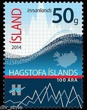 Statistics Iceland 100th Anniversary mnh stamp 2014 #1328