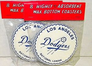 Vintage-1950s-Los-Angeles-Dodgers-Drink-Coasters-Baseball-Made-Japan-Ships-Fast