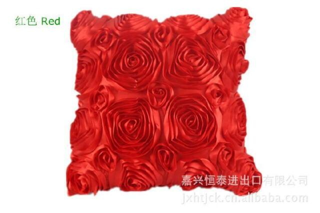 Fine Design Soft Pillow Case Cushion Rose Cover Bed Room Office Decorative