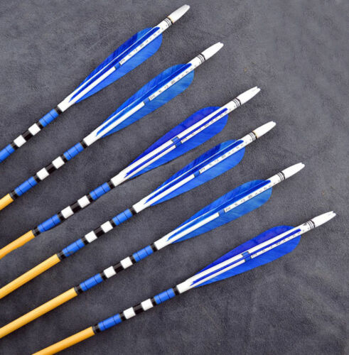 """6PCS 31""""Blue Traditional Wooden Arrows With Turkeys Feather For Practice Archery"""