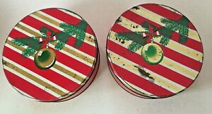Large-Vtg-10-034-Round-Christmas-Cookie-Tin-Candy-1950-039-s-Ornament-on-Tree-Container
