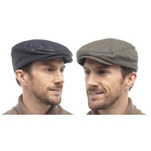 Mens Lined Waxed Flat Cap Wax Barbour Style Fishing Golfing Shooting ... 4d224026510