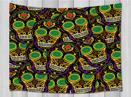 Halloween Skulls Background Wall Hanging Tapestry Smooth Supple Multi-size