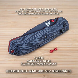 BENCHMADE-560BK-1-SUPER-FREEK-Custom-2pc-Thumb-Stud-Set-Anodized-RED-No-knife