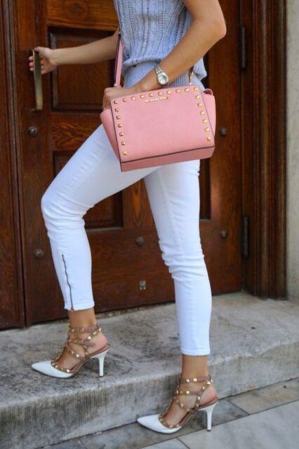 Michael Kors Selma Stud Medium Blossom Leather Messenger Bag 30t3gsmm2l