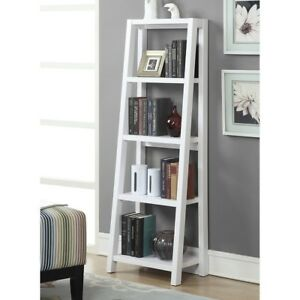 Image Is Loading 5 Tier Bookcase Open Ladder Shelves Wood White