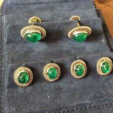 Piranes 18k YG and Plat Cufflinks & stud set 25ct of emeralds