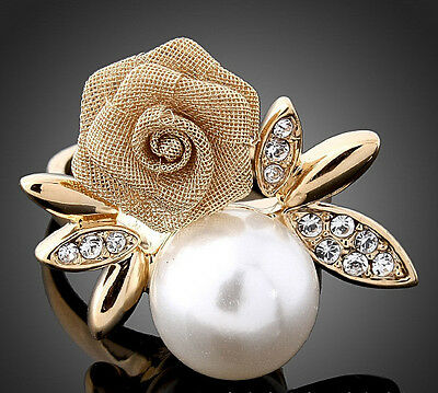 #010066, Gold Plated Crystal Pearl Rose Ring  Size 5.5~9