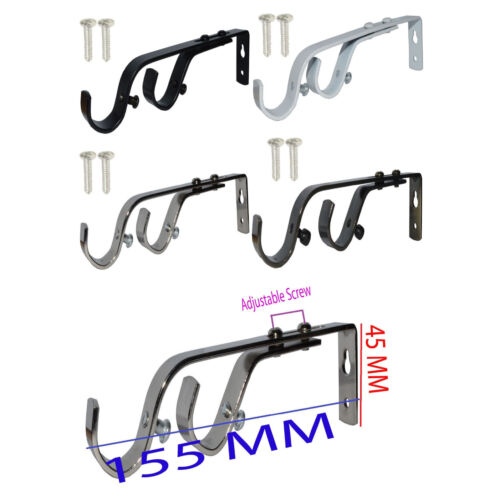 Heavy Duty réglable métal Couche Double Curtain Rod pôle Support Mural Support