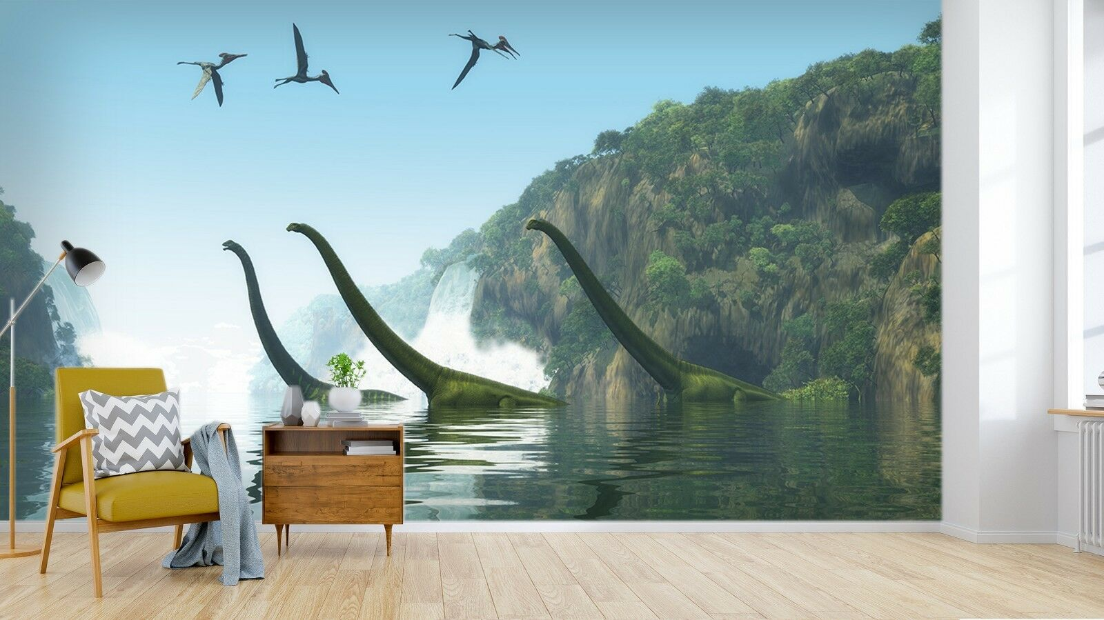 3D Dinosaurier Wasserfall Wald 2 Tapete Wandgemälde Tapete Tapeten Familie Kinde