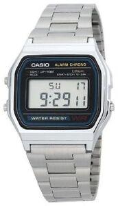 Reloj Con Dettagli Retro Casio Su A Plateado 158 Pulsera Caballero A158wa Original Garantia QCtshrd