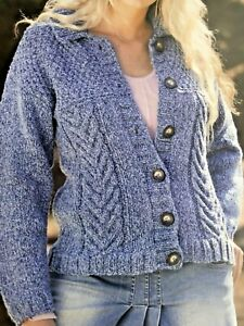 """WOMENS LADIES   CABLE KNIT CARDIGAN  Knitting Pattern CHUNKY  32 - 42 """" - No 31A"""