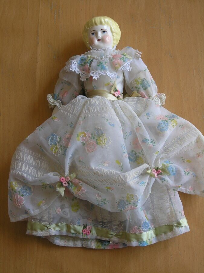 Vintage Antique Ceramic Porcelain Head Hands Feet Doll Leather Body Silk Dress