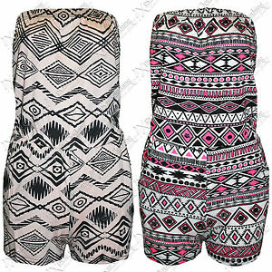 NEW-WOMENS-LADIES-AZTEC-PRINT-PLAYSUIT-HOT-PANTS-SHORTS-BOOBTUBE-TOPS-SHORT-SUIT