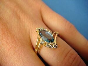 14K-GOLD-BLUE-TOPAZ-AND-DIAMOND-LADIES-RING-3-9-GRAMS-SIZE-6-25-GENUINE-STONES