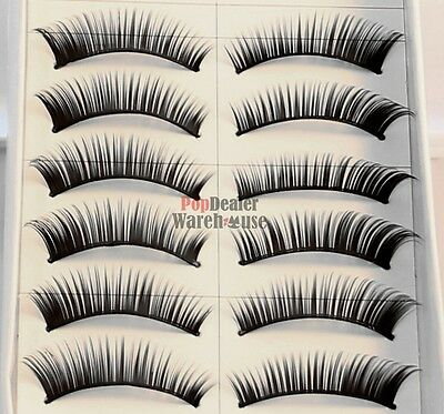 10 Pairs Handmade Natural Fake False Eyelashes Eye Lashes Jet Black Glue Sample