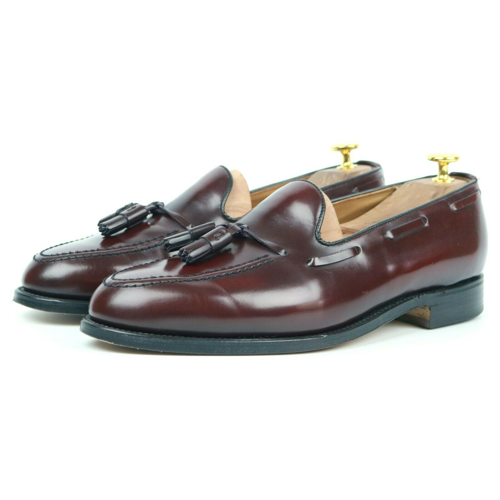 Alfred Ssilver 'Harrow' Burgundy Leather Tassel Loafers Men's shoes UK 9 EX
