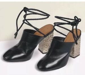 New-Next-size-4-UK-Black-Leather-Lace-Up-Mules-Block-Heel-EU-37