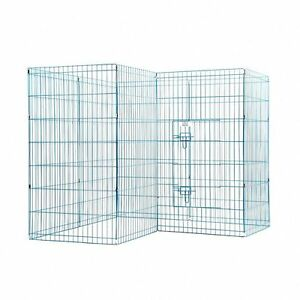 42'' Wire Fence Pet Playpen Panel Metal Folding Exercise Yard Dog Cage Blue