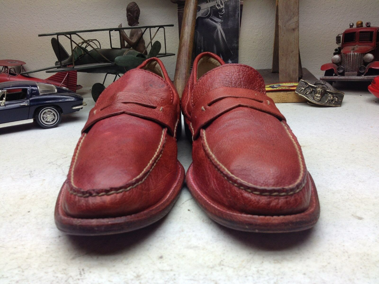 GENTLY CASUAL WORN RED LEATHER FRYE STITCHED SLIP ON CASUAL GENTLY LOAFER SATURDAY SHOES 11.5D c89c20