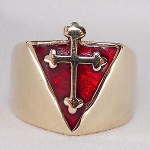 HUGE-HEAVY-CHRISTIAN-KNIGHT-BISHOPS-RING-Coptic-Rose-CROSS-PYRAMID-Catholic